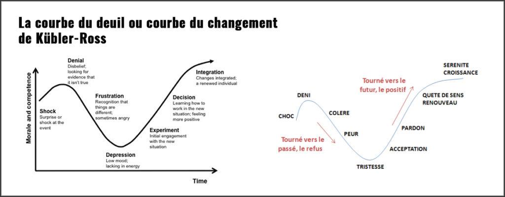Courbe innovation - courbe du changement Kubler Ross